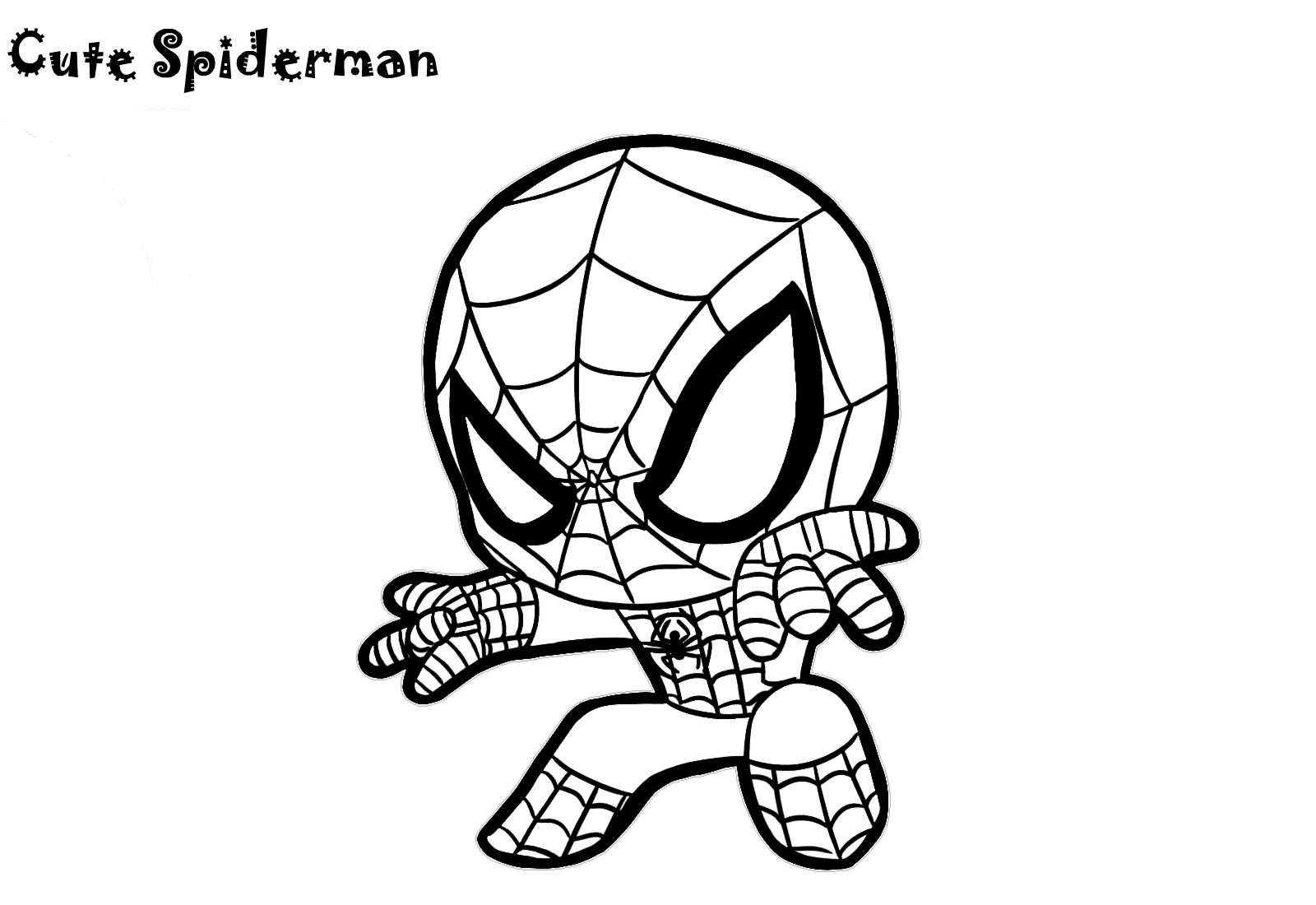 Cute Little Spiderman Coloring Pages Chibi Cartoon Sheets