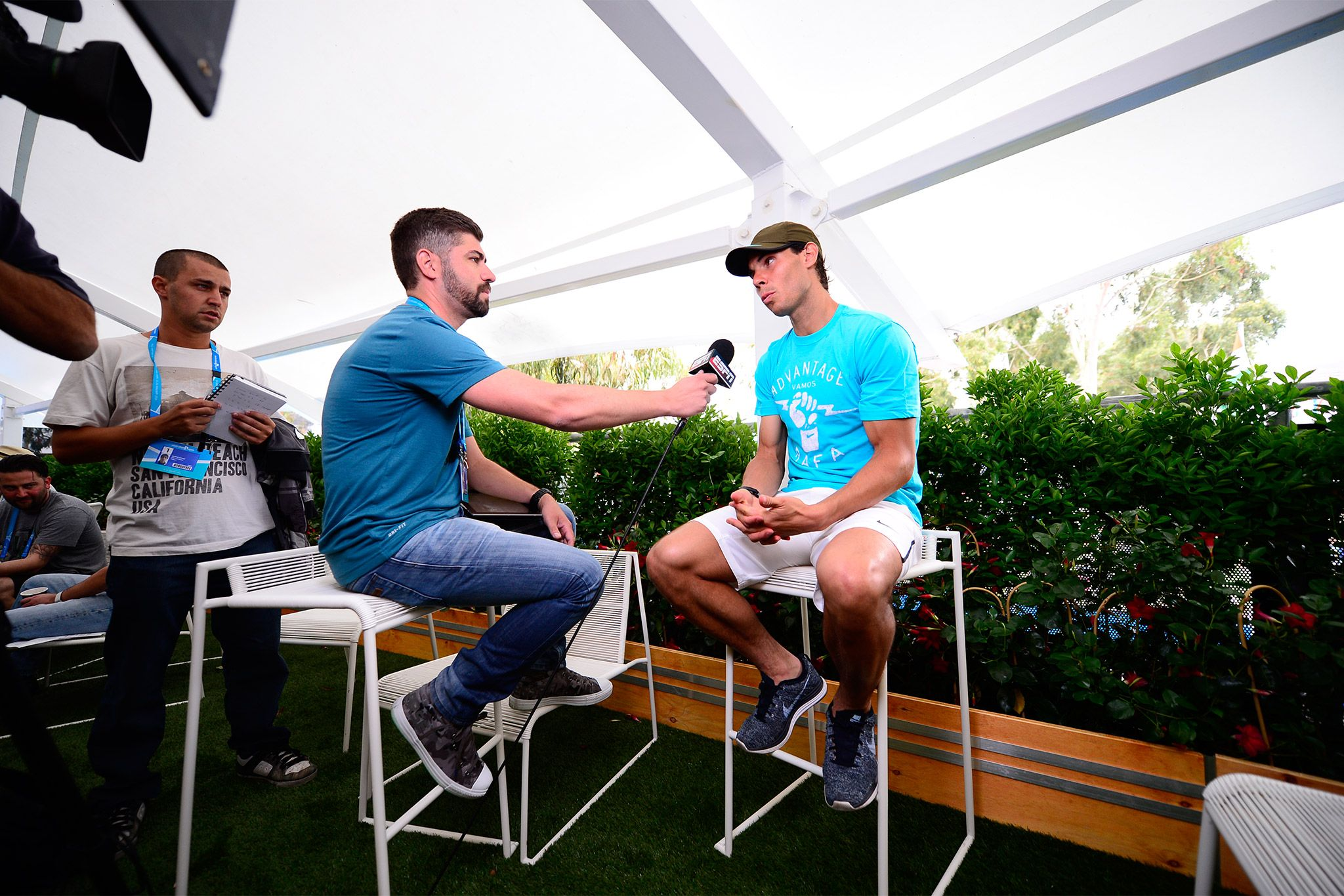 Rafael Nadal gives an interview ahead of the Australian Open 2014. - Ben Solomon/Tennis Australia