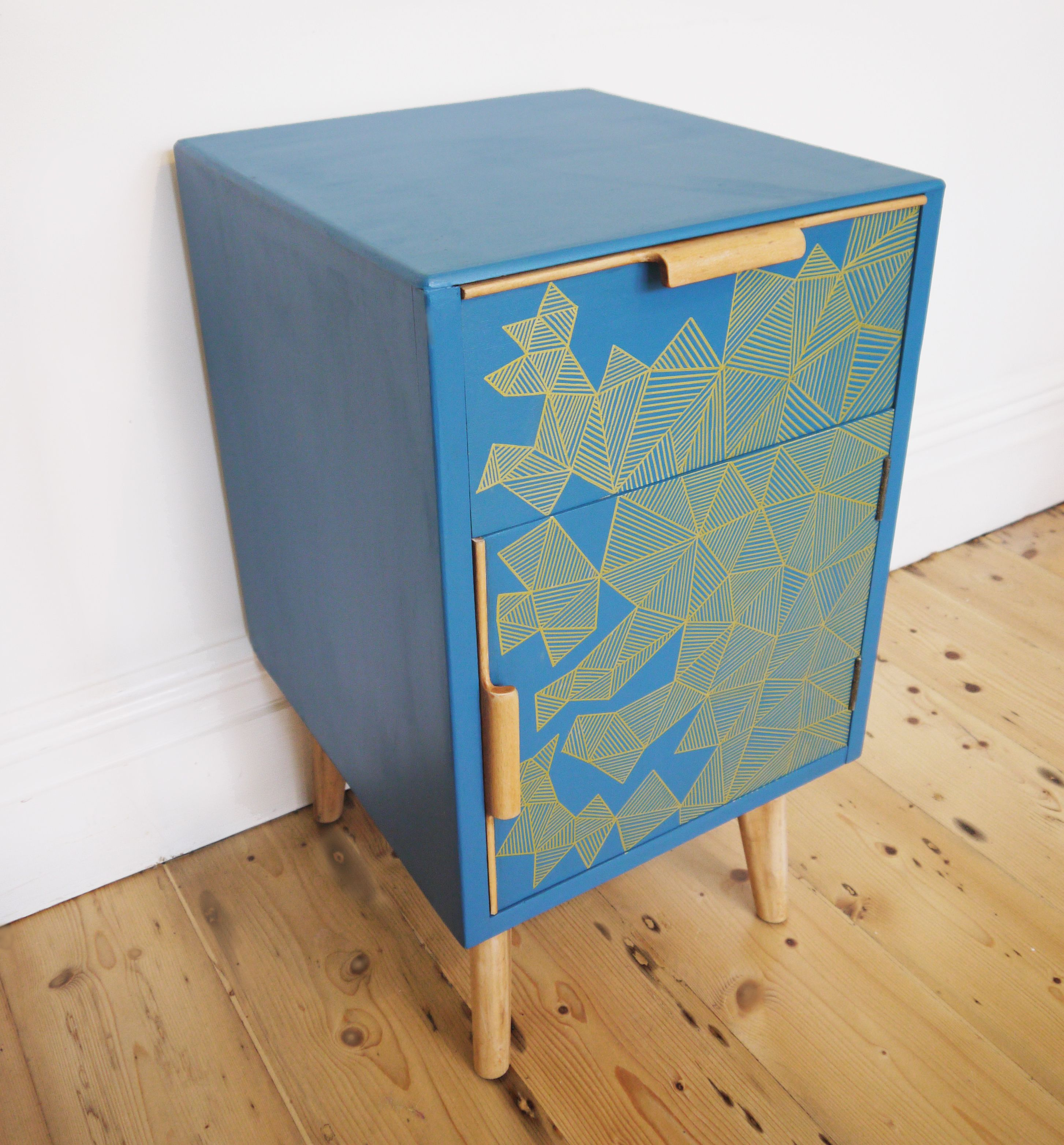 Upcycled bedside cabinet table geometric lines in Gold & Deep Teal ...