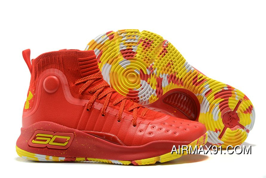 7ac92c5c30 Under Armour Curry 4 Chinese Red Red Yellow Top Deals in 2019 ...