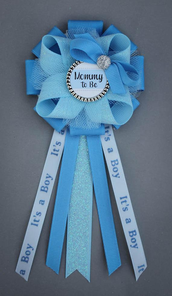 Blue Mommy To Be Corsage Baby Boy Shower Corsage Baby Shower