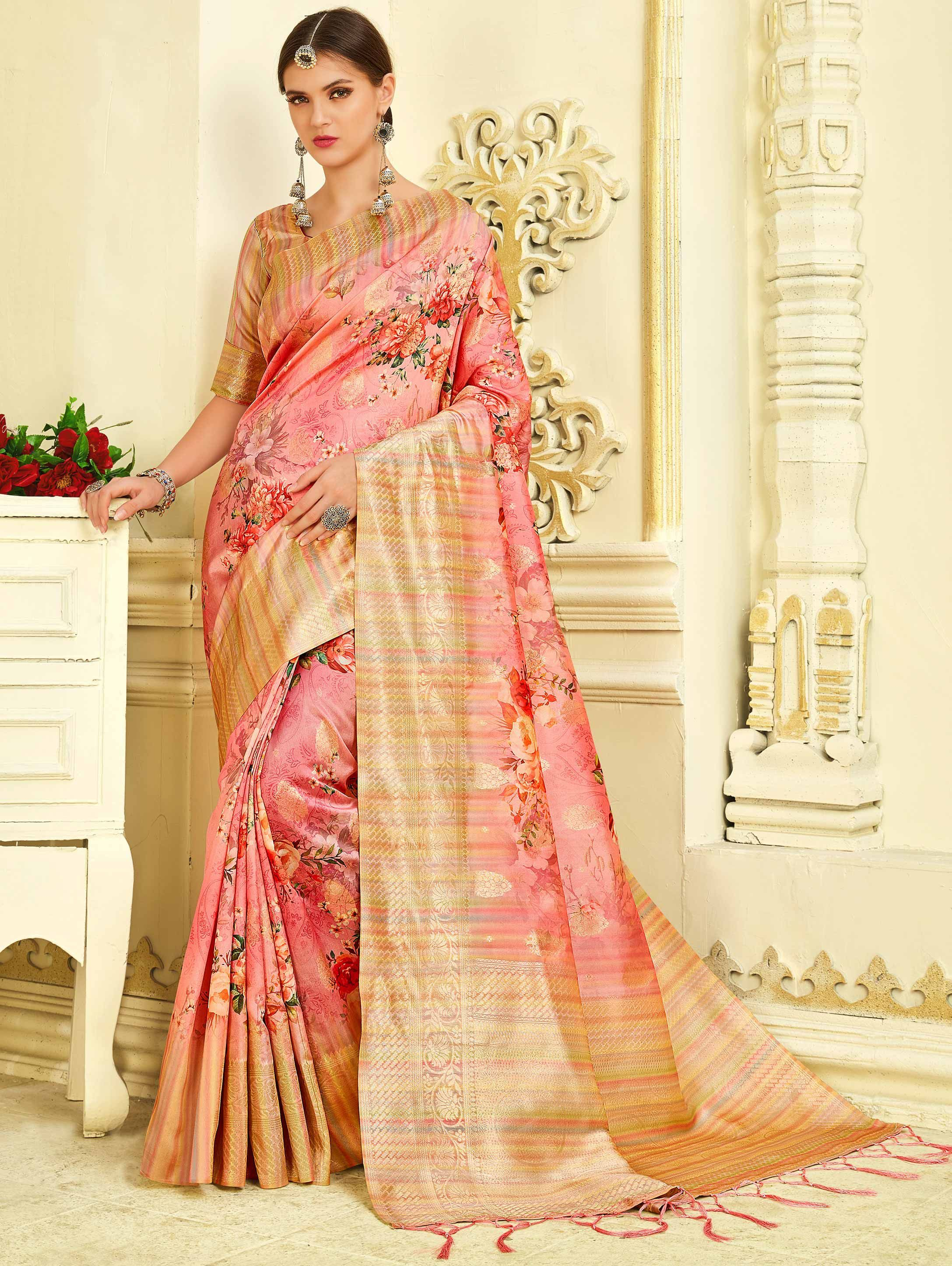 Designer Pink Printed With Embroidered Borders Saree
