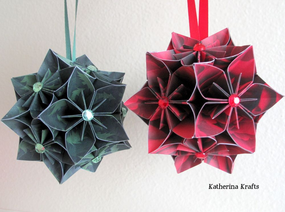 Origami christmas flower ball origami tutorial lets make it paper christmas ornaments katherina krafts kusudama kusudama christmas flowers mightylinksfo