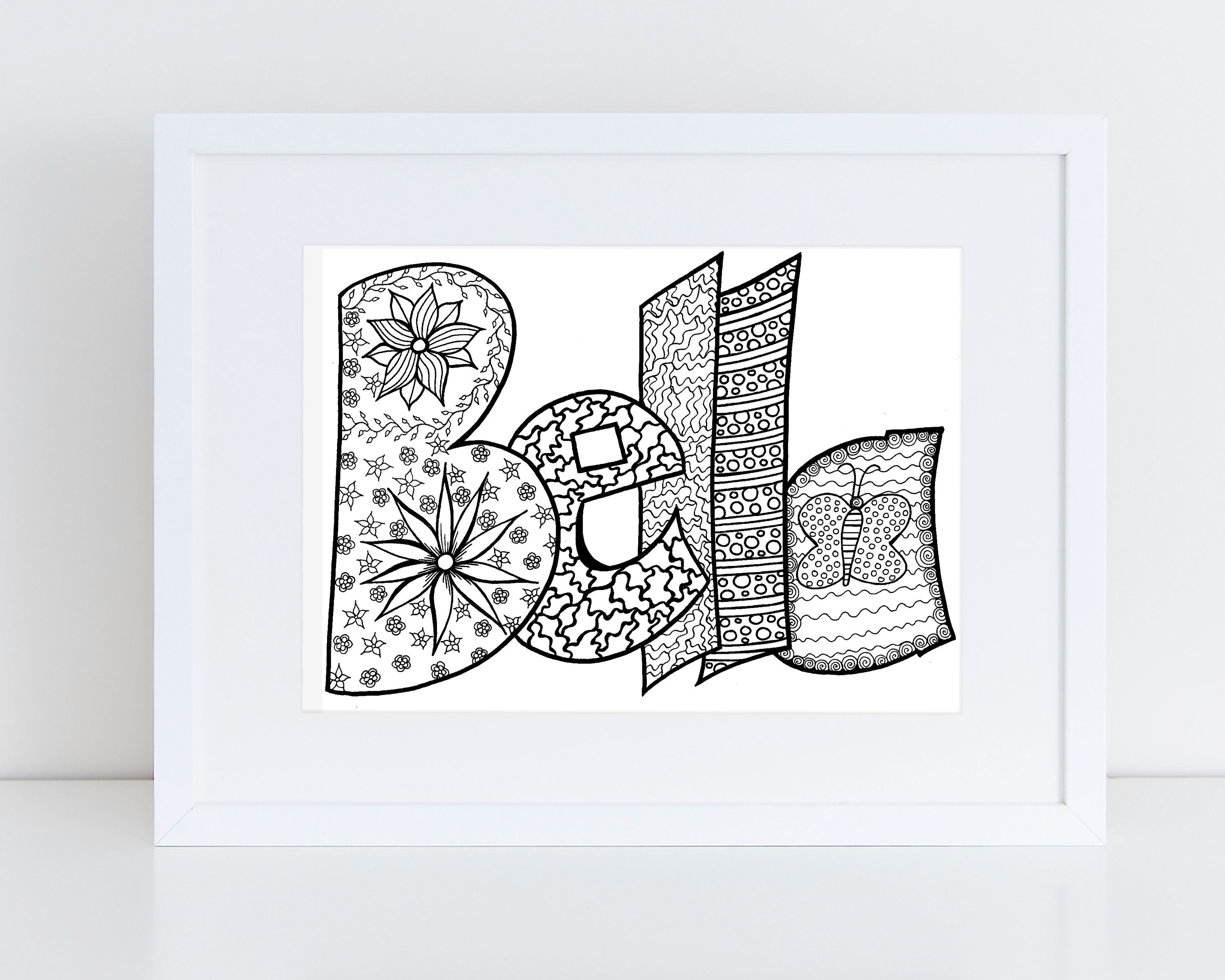 Digital Custom Coloring Page Purchase This Item And Include A Note With The Name Or Word You D Love Jpg Pdf Name Coloring Pages Coloring Pages Coloring Books