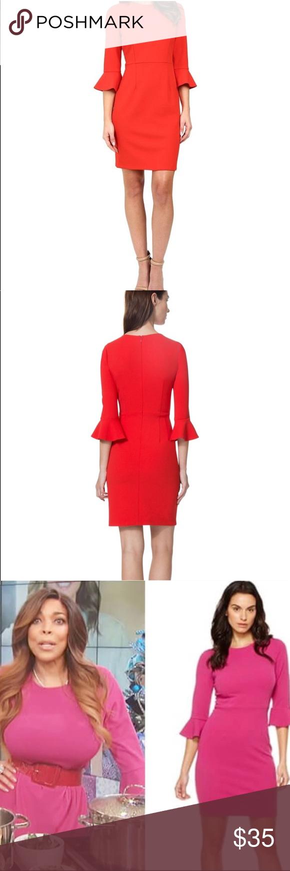 Donna morgan red bell sleeve dress nwt nwt my posh picks
