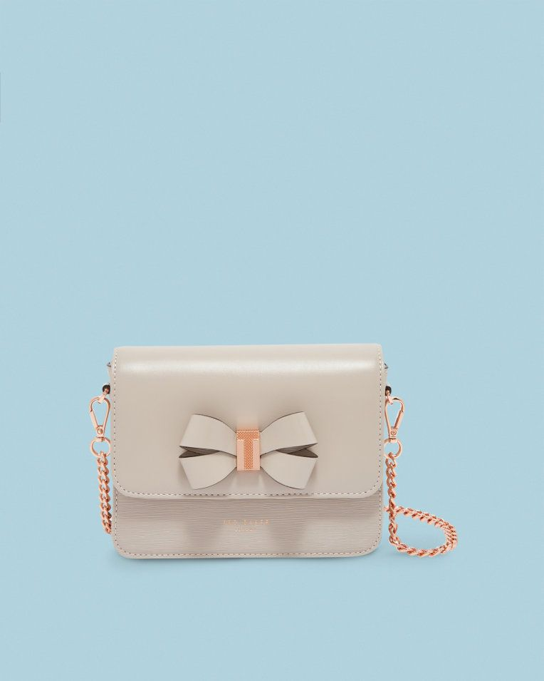 bb804f437d Bow detail leather cross body bag - Taupe | Bags | Ted Baker UK ...