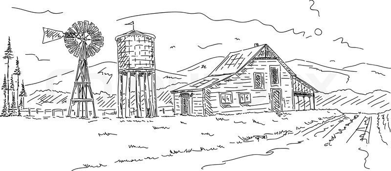 Custom Barn Drawing House Landscape Farm Gift For Parents