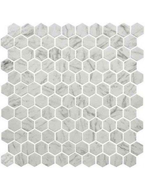 Daltile Uptown Glass Carrara 1 Hexagon Floor Mosaic Tile Hexagonal Mosaic Daltile Hexagon Mosaic Tile