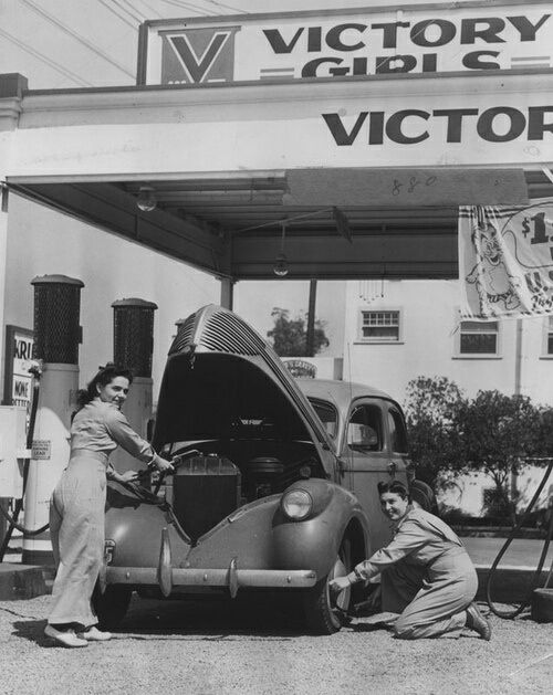 Victory Girls' Gas Station full service gas station in California. (1942)