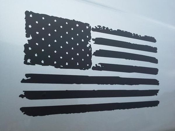 Matte Black Distressed American Flag Vinyl Decal Vinyl Decals Vinyl Decal Projects Jeep Wrangler Stickers