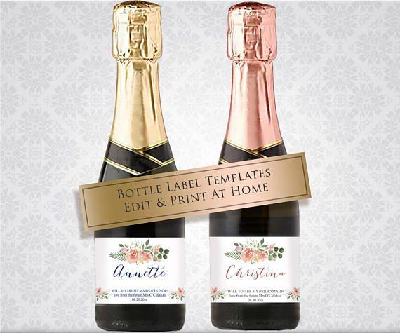 Printable Mini Champagne Label Personalised Bottle Templates Be My - Mini champagne bottle labels template