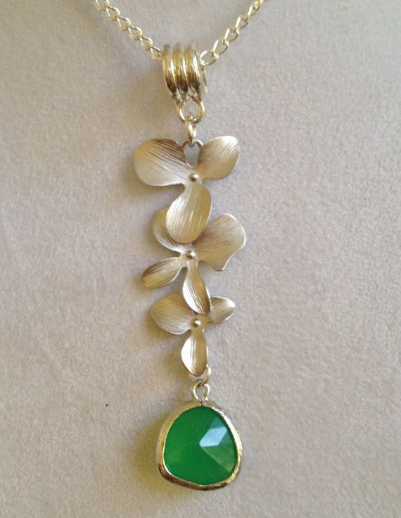 Silver Orchid and Crystal Necklace by joytoyou41 on Etsy, $30.00
