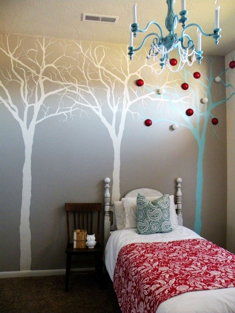 Decorating Ideas Nice Diy Wall Tree Mural Decorated With Cool