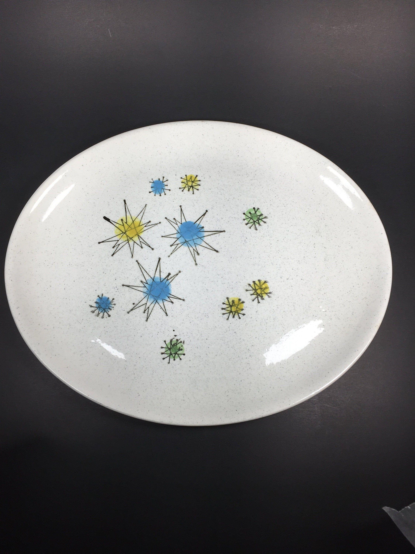 Vintage Faienceries Continentales Les Etoiles Platter 11 X 9 1 4 Stars Atomic Oval Vintage Pottery Vintage Shop Design