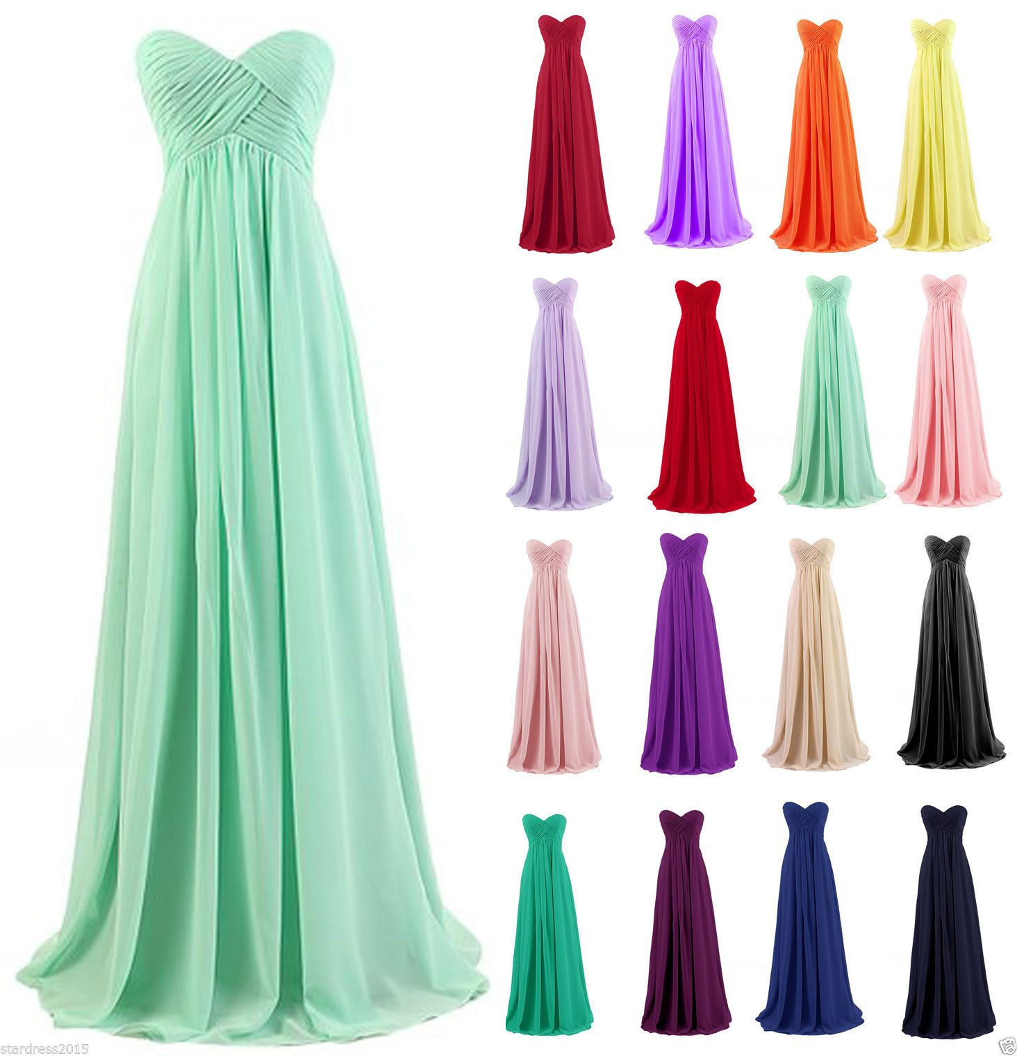 Plus Size Pleat Bridesmaid Long Chiffon Evening Party Prom Dress ...