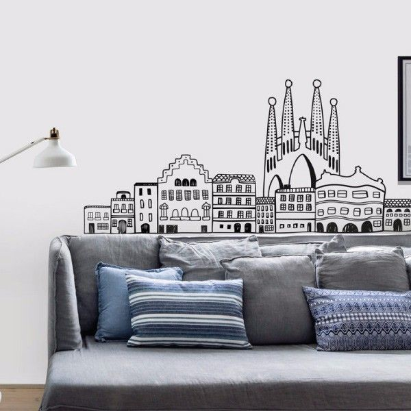 Skylines my vinilo vinilos decorativos decoraci n de for Papel pared barcelona