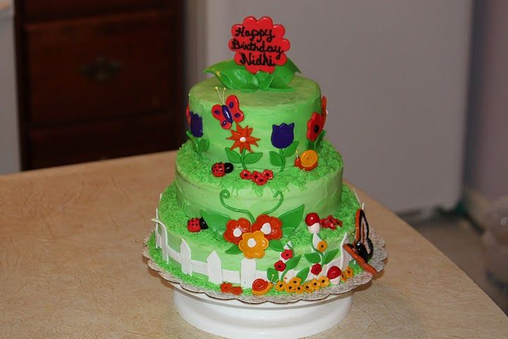 - Garden theme pineapple cake for my daughters first birthday.