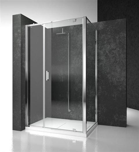 Cabina doccia intelaiata con porta battente e fissetto in