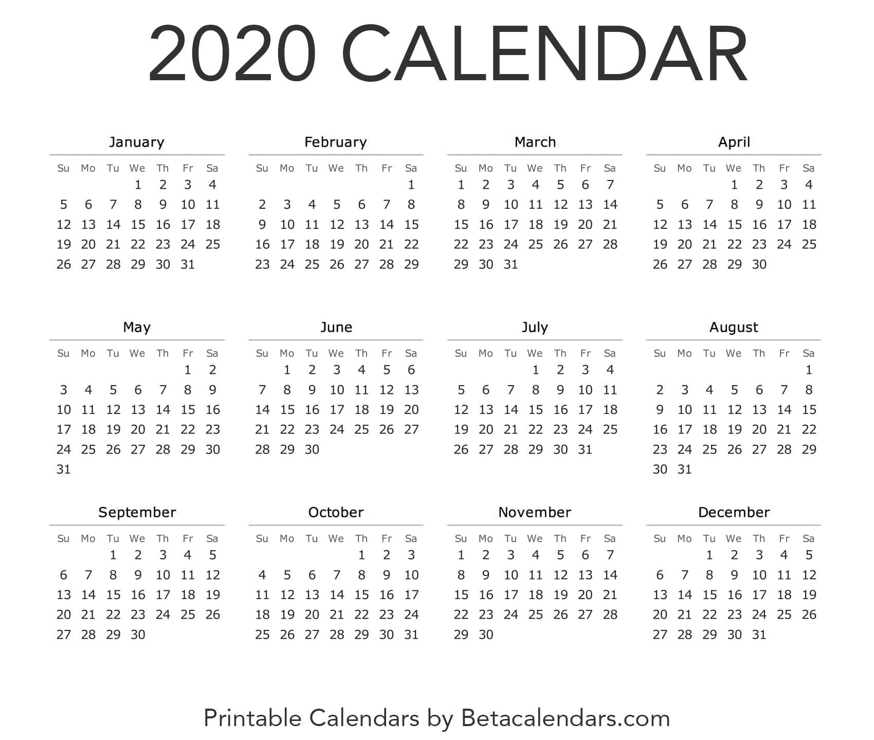 Printable 2020 Calendar Monthly calendar printable