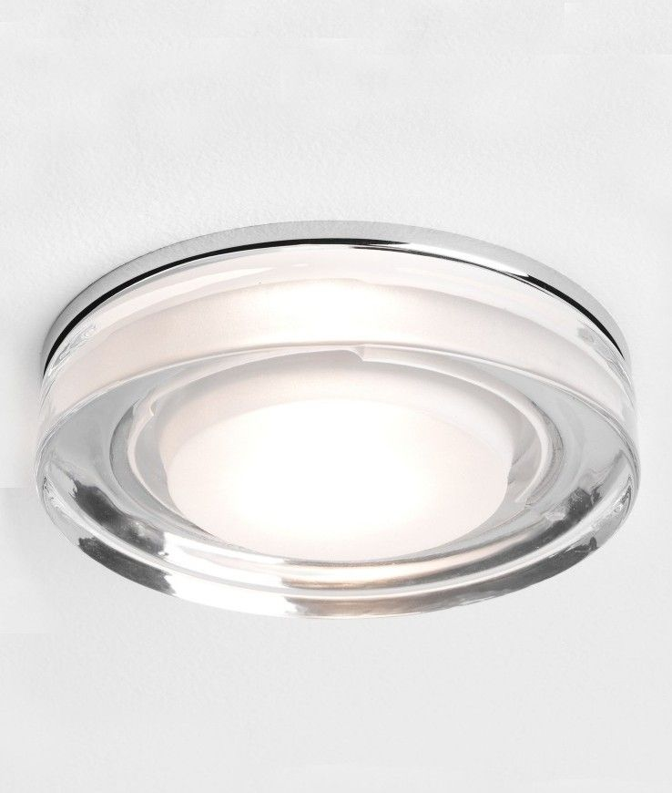 Decorative Glass And Chrome Downlight Ip65 Downlights Polished Chrome Shower Lighting
