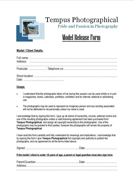 No Model Does Anything Without A Model Release Form This Form Is
