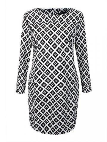 Plus Size Classical Ethnic Print Pockets Slim Dress