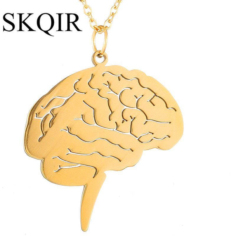 32404eee6e46 Skqir moda mujeres joyería oro cerebro colgante único Médicos cerebro para  enfermera doctor regalo collar de cadena de acero inoxidable  jwelry   psicología ...
