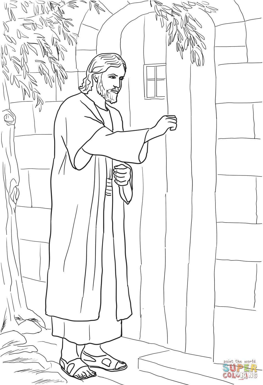 Jesus Knocking At The Door Coloring Page Jesus Coloring Pages Bible Coloring Pages Bible Coloring