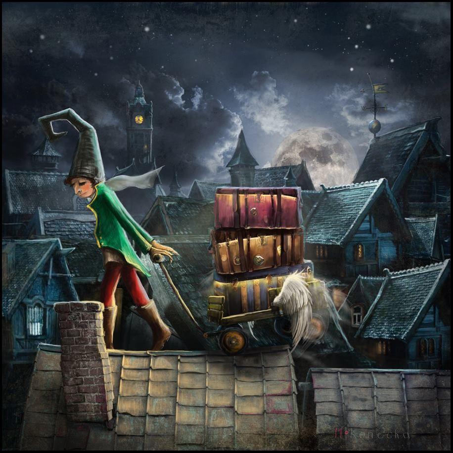 """Dreams Carrier"" Matylda Konecka ; Edinburgh, Scotland.  #matyldakonecka  #Edinburgh  #illustration  #art  #fantasy  #night  #rooftop"