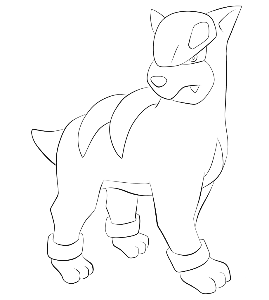 Kleurplaten Pokemon Black 2.228 Houndour Pokemon Kleurplaat Pokemon Coloring Pokemon