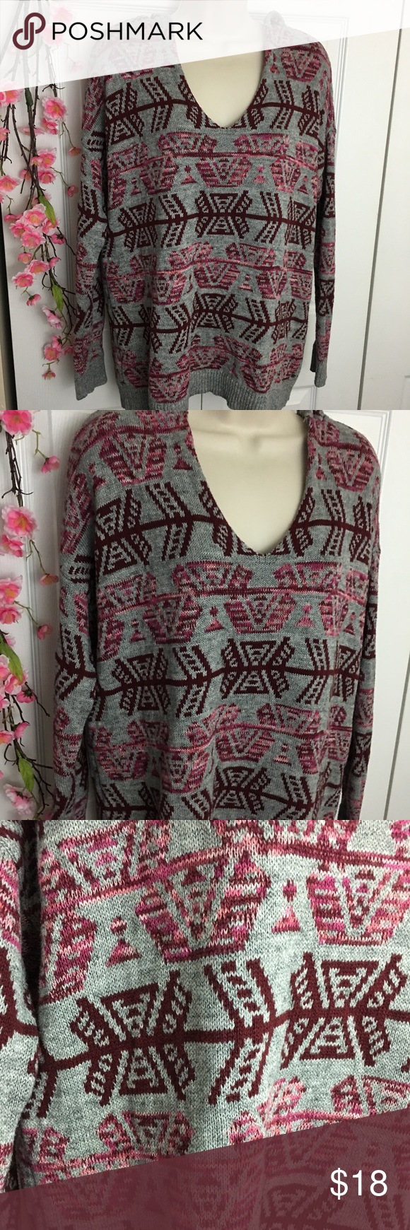American Eagle Oversized Tribal Sweater Hoodie | Tribal sweater ...