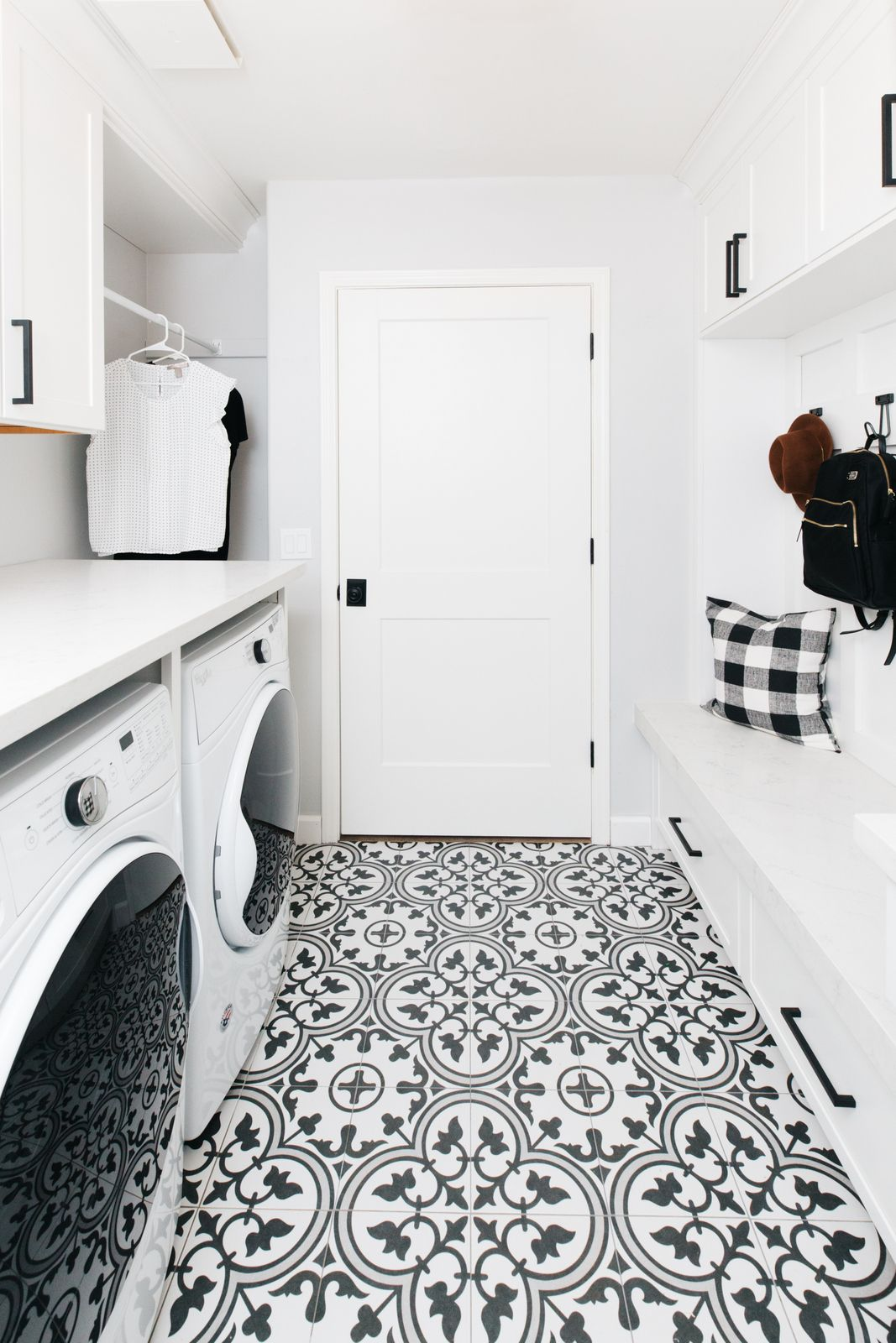 Laundry Room Mudroom Reveal Our House Remodel The Tomkat Studio Blog White Laundry Rooms Laundry Room Flooring White Laundry