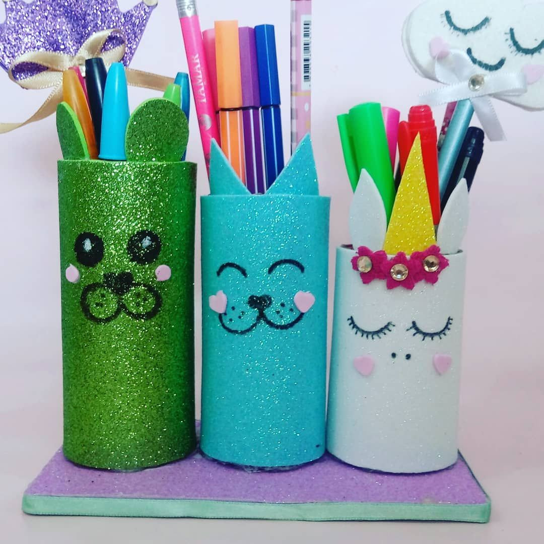 Artesanado com rolo de papel higienico porta lapis
