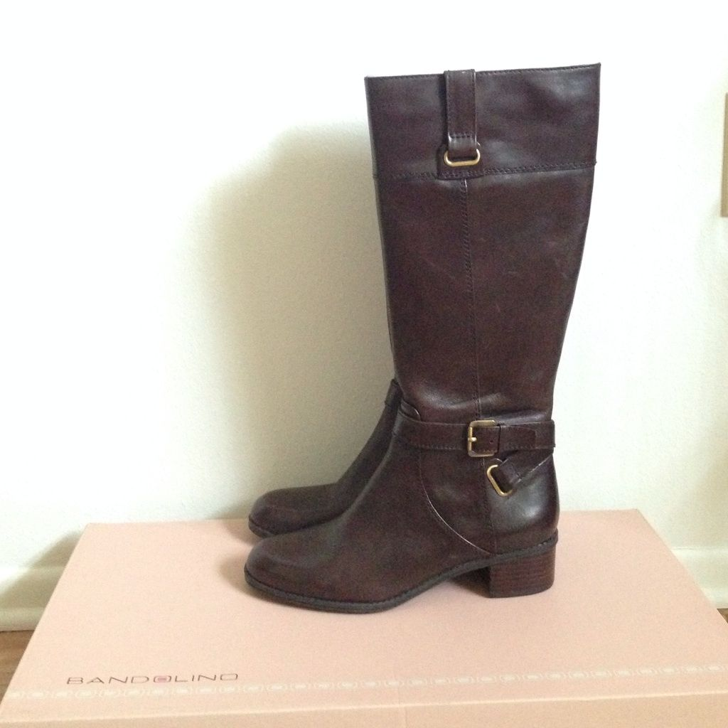 Bandolino Leather Riding Boot Brown Brown riding boots
