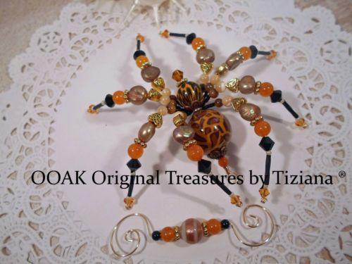 TreasuresbyTiziana-Jungle-Beaded-Leopard-Tiger-Handmade-Halloween-OOAK-Spider