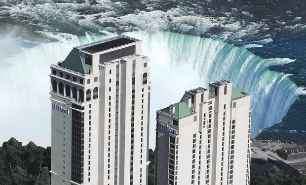 Hilton Hotel and Suites Niagara Falls/Fallsview - Premium Collection - Niagara Falls, ON: Stay with Wine-and-Dine Bundle at 4-Star Hilton Hotel and Suites Niagara Falls/Fallsview in Ontario. Dates into March.