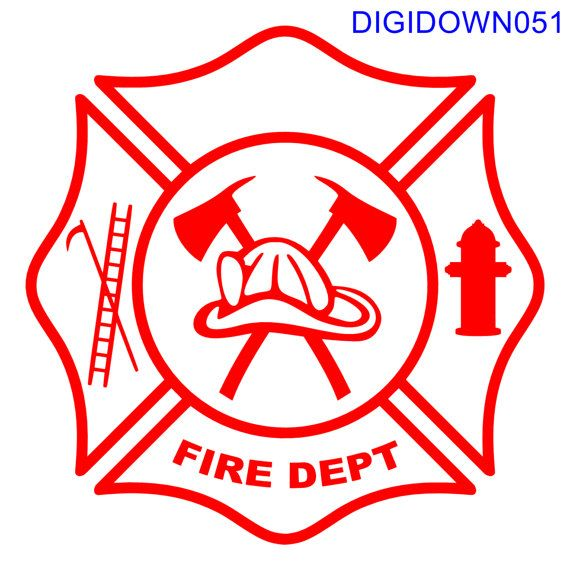 Maltese Cross Fire Dept Logo W Hook Ladder By Victoryvinylartfx Fire Dept Logo Fire Dept Maltese Cross