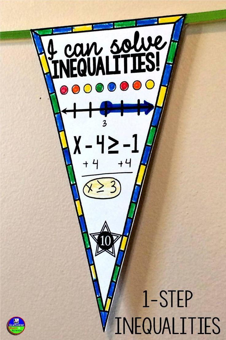 1 Step Inequalities Math Pennant Activity Math Pennant Solving Equations Activity Math Classroom [ 1104 x 736 Pixel ]