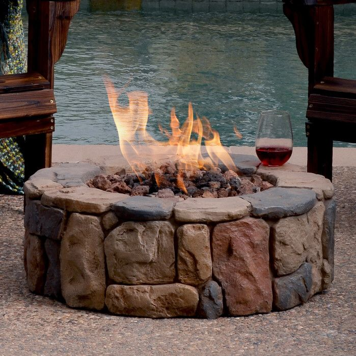 Features Material Envirostone Burns Liquid Propane Rated At Up To 50 000 Btus Of Heat Perfect For Out Gas Firepit Concrete Fire Pits Fire Pit Wayfair