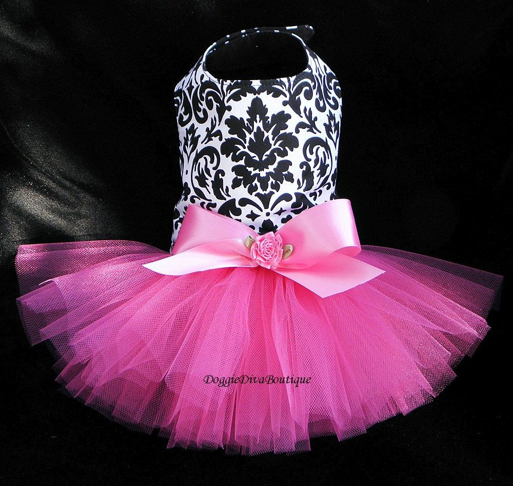 Cute white and black dog dress with pink tutu!!!