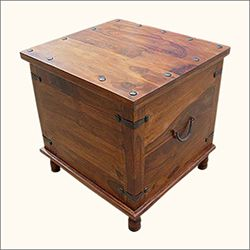 Square Wood With Metal Storage Trunk Box Accent Table In 2019 Sala