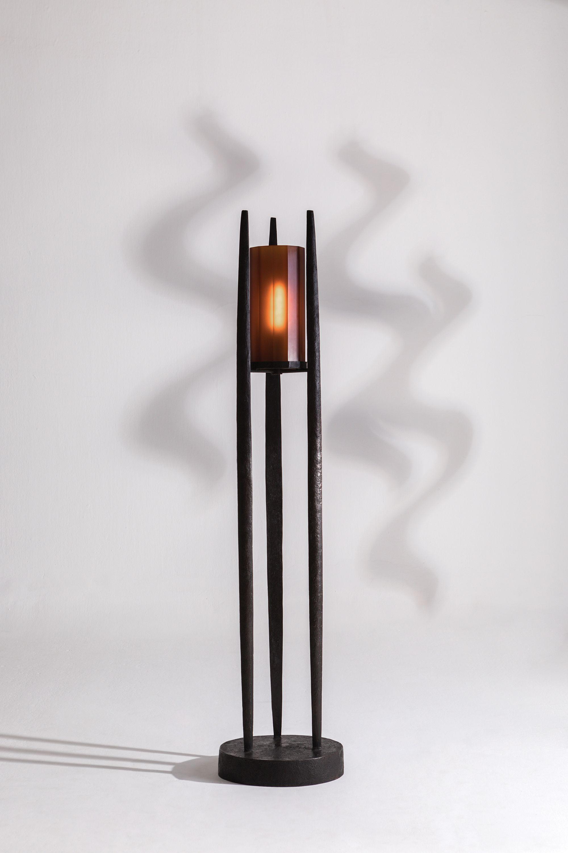 Lucio Floor Lamp in bronze and amber Peking glass | Lighting ...