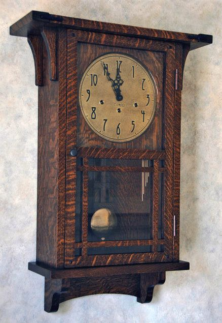 Arts Crafts Wall Clock Hm Square With Shelf