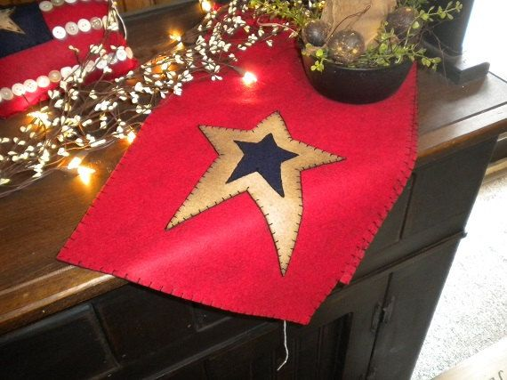 Americana table runner measuring 12x36 inches by gingerbreadcottagecr on Etsy
