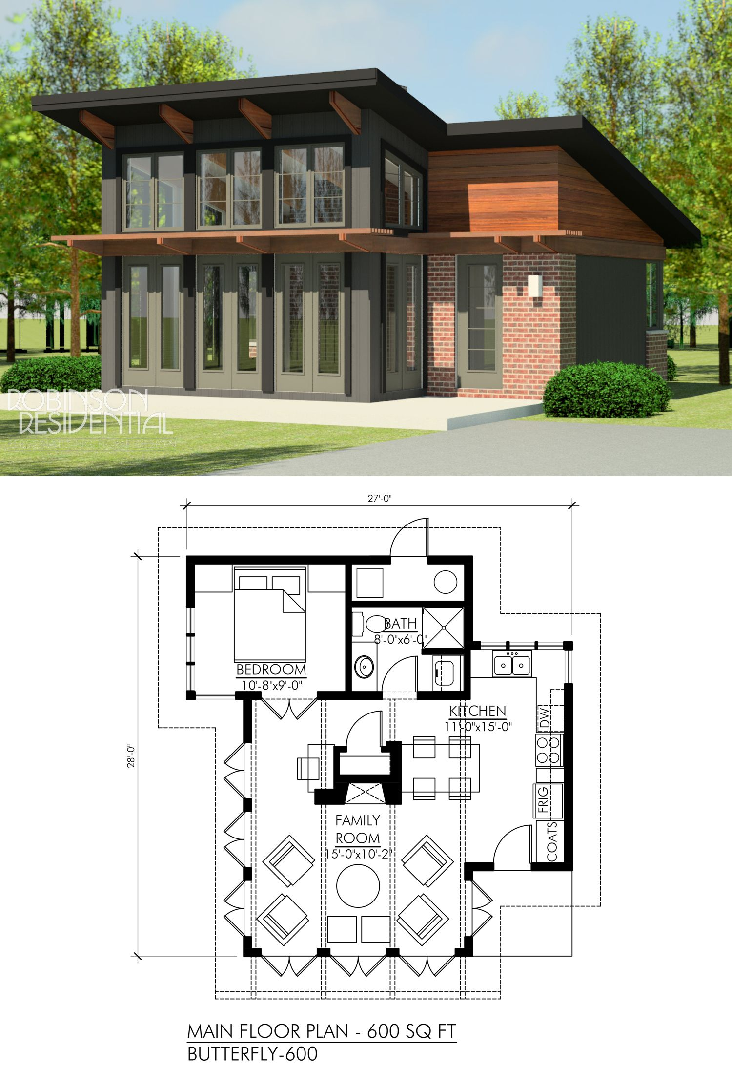 Contemporary Butterfly 600 Robinson Plans House Plan With Loft House Plans Modern House Plans