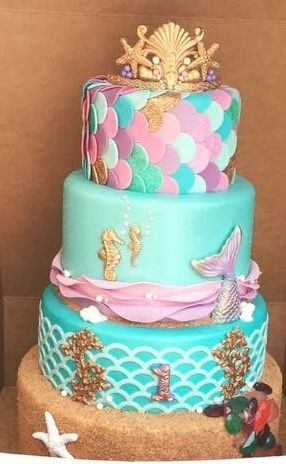 Mermaid Tier Cake 4 Layer Birthday Cakes Little