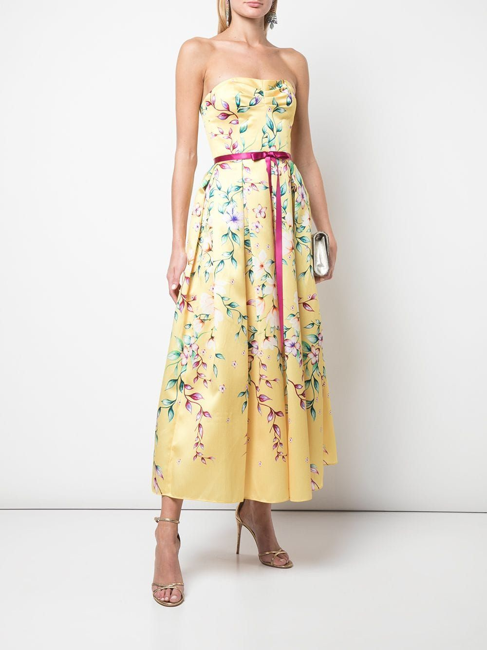 Marchesa Notte Mikado Tea Midi Dress Farfetch Dresses Midi Dress Tea Length Dresses [ 1334 x 1000 Pixel ]