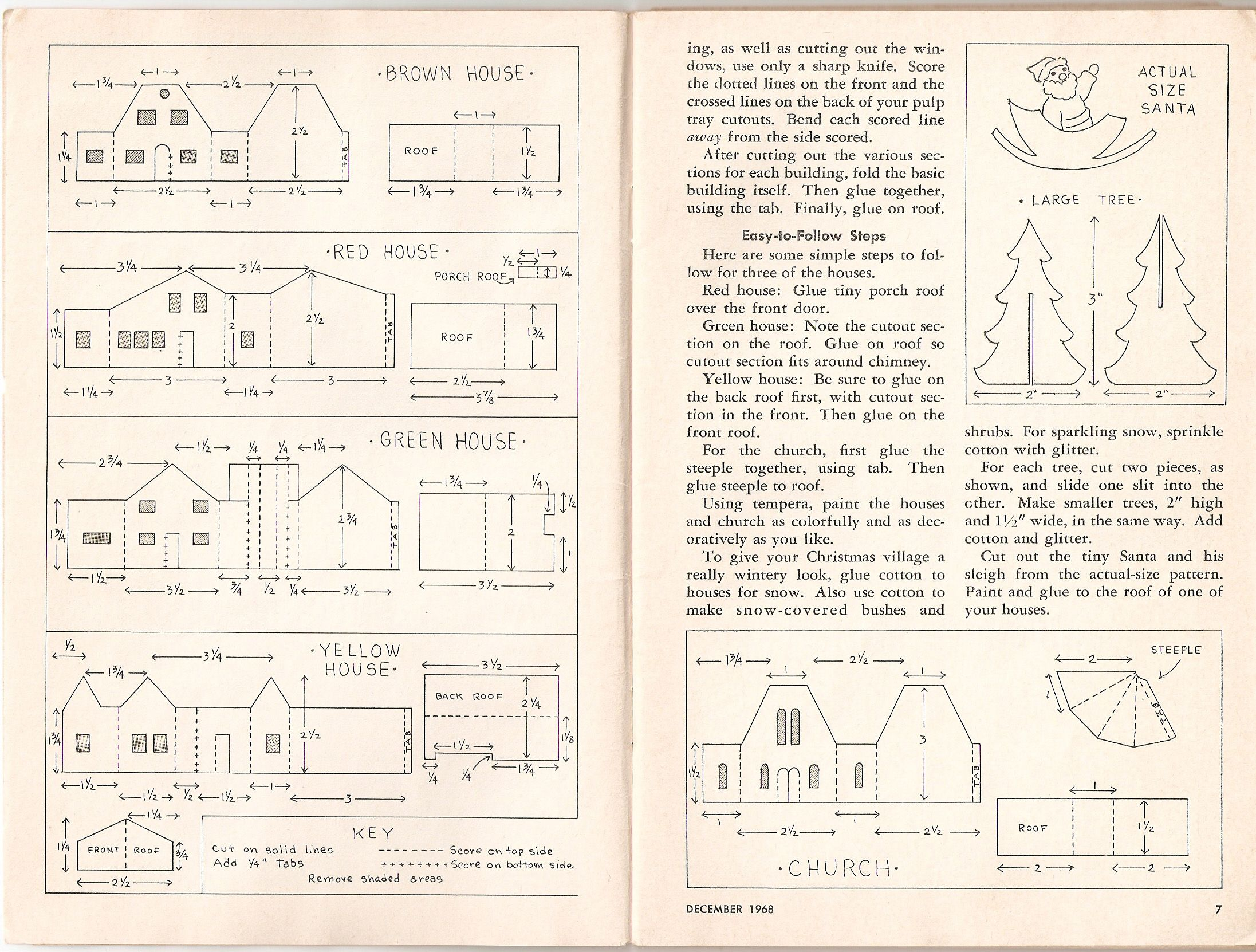 putz house patterns from Pack O\' Fun magazine, Dec. 1968, pp. 6,7 ...