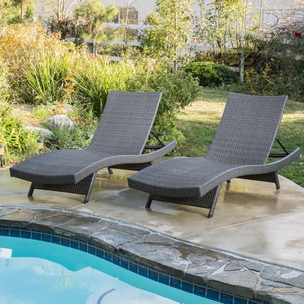 Noble House Salem Grey 2 Piece Wicker Outdoor Chaise Lounge 9398