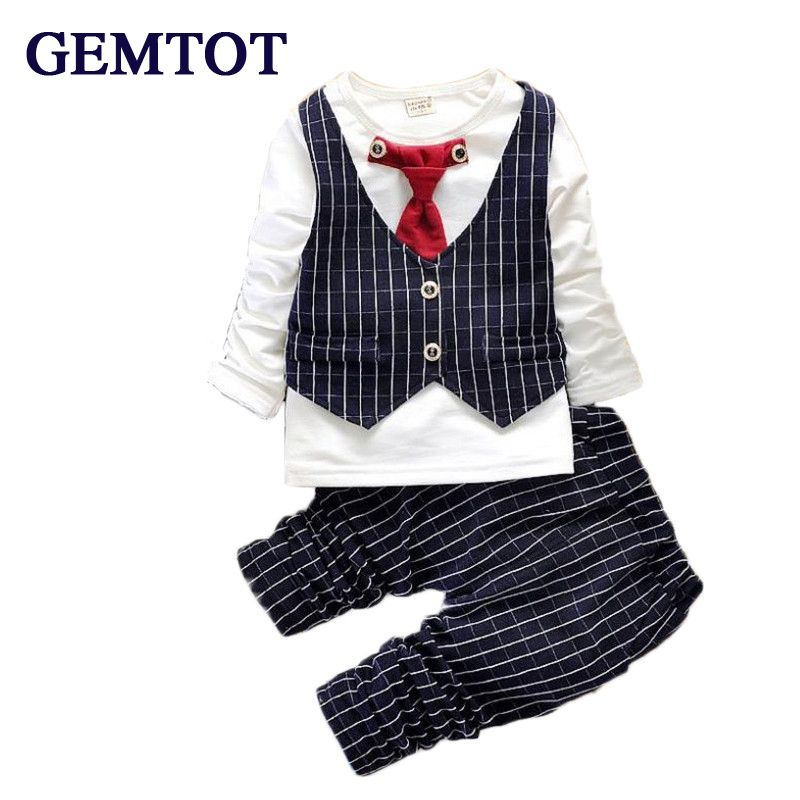 Gemtot Boys Clothing Suit 2017 Spring New Baby Long Sleeve Fake Two
